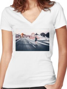 chase your dreams Women's Fitted V-Neck T-Shirt