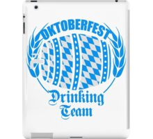 drinking team blau weiss flagge hahn oktoberfest bier saufen trinken alkohol fass bayern party feiern text shirt cool design  iPad Case/Skin