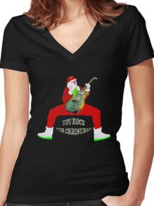 Christmas you rock ! Women's Fitted V-Neck T-Shirt