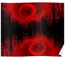 RED MOON AND TREES  Poster