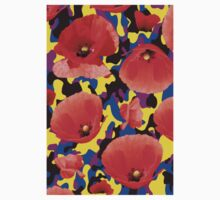 Poppie Camouflage Red Yellow - Living Hell Kids Tee