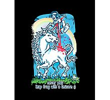 Legendary Leap Frog with Mythical Unicorn Photographic Print