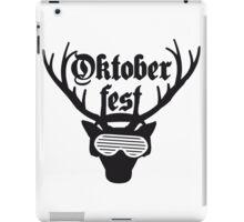 dj party musik funky kopfhörer club feiern disko text hirsch geweih hörner oktoberfest silhouette schwarz shirt cool design  iPad Case/Skin