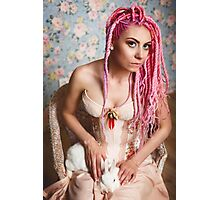 Freaky young woman in vintage corset  Photographic Print