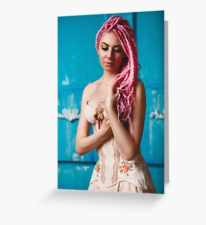 Freaky young female model wearing corset Greeting Card