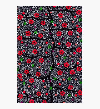 Grunge Forest Pattern, Flower And Leaf Doodles Photographic Print
