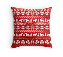 Clumber Spaniels Christmas Sweater Pattern Throw Pillow
