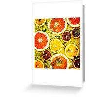 Ripe red oranges and grapefruits cut by rings Greeting Card