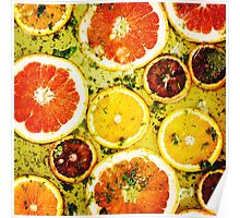 Ripe red oranges and grapefruits cut by rings Poster