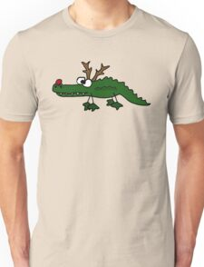 Cool Funny Christmas Alligator with Antlers Unisex T-Shirt
