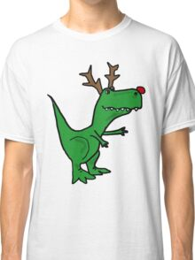 Cool Funny Christmas T Rex Dinosaur with Antlers Classic T-Shirt