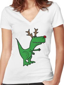 Cool Funny Christmas T Rex Dinosaur with Antlers Women's Fitted V-Neck T-Shirt