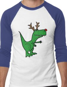 Cool Funny Christmas T Rex Dinosaur with Antlers Men's Baseball ¾ T-Shirt