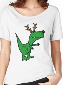 Cool Funny Christmas T Rex Dinosaur with Antlers Women's Relaxed Fit T-Shirt