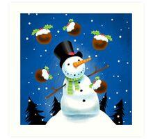 Juggling Snowman Art Print