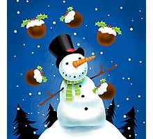 Juggling Snowman Photographic Print