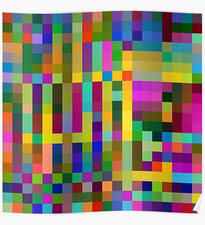Pixel Design Pattern. Random Colored Blocks. Poster