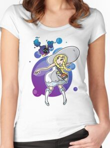 Pokemon Sun/Moon - Lillie and Nebby Women's Fitted Scoop T-Shirt