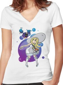 Pokemon Sun/Moon - Lillie and Nebby Women's Fitted V-Neck T-Shirt