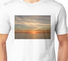 Painted by Airplanes - Contrails Streak the Sky at Sunrise Unisex T-Shirt