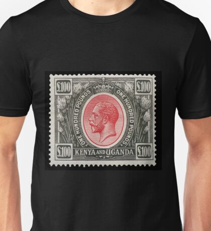 Stamp - £100 - 1925 - Red and Black - Kenya and Uganda Unisex T-Shirt