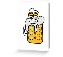 cool lustig gesicht lebendig comic cartoon durst logo bier krug saufen trinken party feiern spaßtrinken alkohol symbol cool shirt oktoberfest  Greeting Card