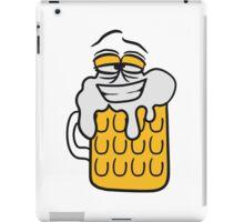 cool lustig gesicht lebendig comic cartoon durst logo bier krug saufen trinken party feiern spaßtrinken alkohol symbol cool shirt oktoberfest  iPad Case/Skin