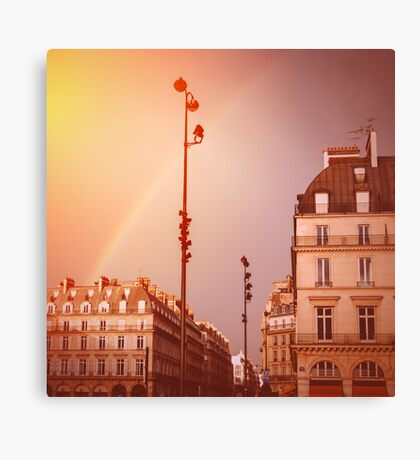 Paris Street View with Rainbow in the Sky After Rain Canvas Print