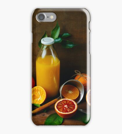 Bottle of Fresh Squeezed Orange Juice iPhone Case/Skin