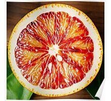Half of an Orange Citrus Fruit Close Up Poster