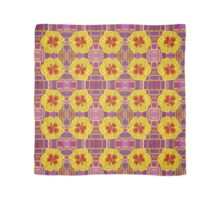 Tiled yellow and purple floral oil painting Scarf