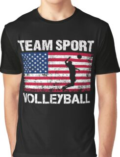 USA  Flag Volleyball T-Shirts - Volleyball Team Gift Graphic T-Shirt