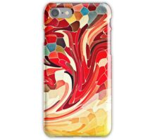 Abstract Stained Glass Battling Firebirds in Fiery Red Orange Yellow iPhone Case/Skin