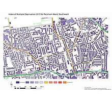 Multiple Deprivation Peckham ward, Southwark Photographic Print
