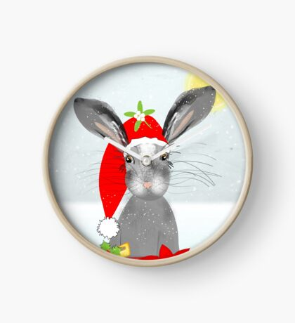 Cute Rabbit Christmas Holidays Themed Whimsy Design Clock