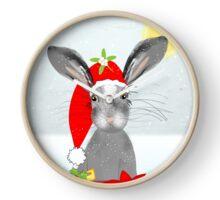 Cute Rabbit Christmas Holidays Themed Whimsy Design Clock