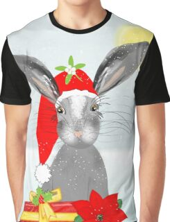 Cute Rabbit Christmas Holidays Themed Whimsy Design Graphic T-Shirt