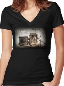 Battery Mishler Power Hoist lower section Women's Fitted V-Neck T-Shirt