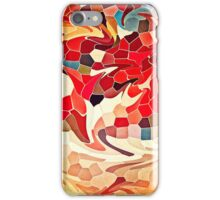 Abstract Stained Glass Battling Firebirds in Fiery Red Orange Yellow 2 iPhone Case/Skin