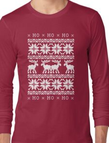 CHRISTMAS DEER SWEATER KNITTED PATTERN Long Sleeve T-Shirt