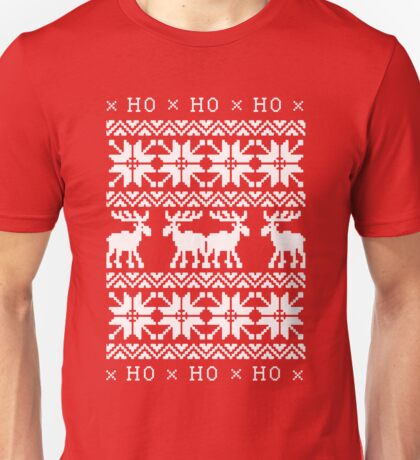 CHRISTMAS DEER SWEATER KNITTED PATTERN Unisex T-Shirt