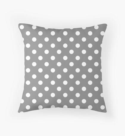 Polka Dot White On Grey Throw Pillow