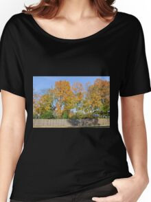Autumn Trees Behind the Fence Women's Relaxed Fit T-Shirt