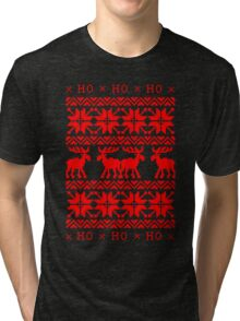 UGLY CHRISTMAS SWEATER KNITTED PATTERN Tri-blend T-Shirt