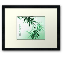 Green Bamboo Twig Framed Print