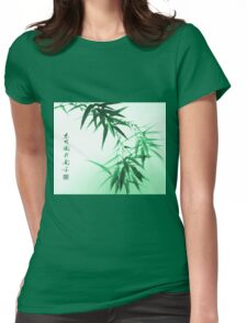 Green Bamboo Twig Womens Fitted T-Shirt