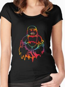 Melting Tie-Dye Buddha Women's Fitted Scoop T-Shirt