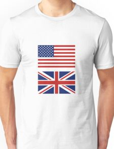 The USA and UK Flags Combo. Unisex T-Shirt