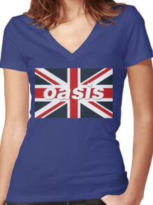 Oasis - Union Flag Women's Fitted V-Neck T-Shirt