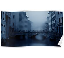 Annecy with Christmas Decorations in Fog Poster
